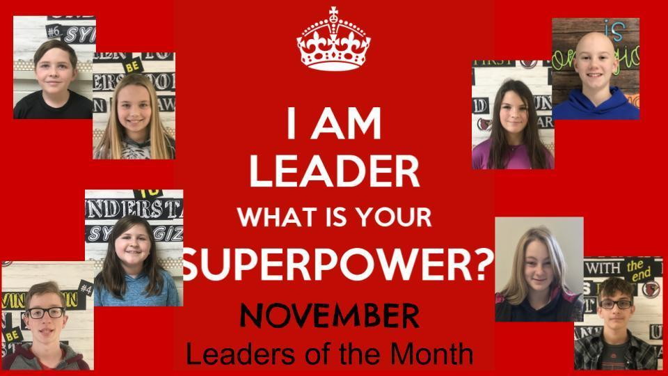 November leaders of the month